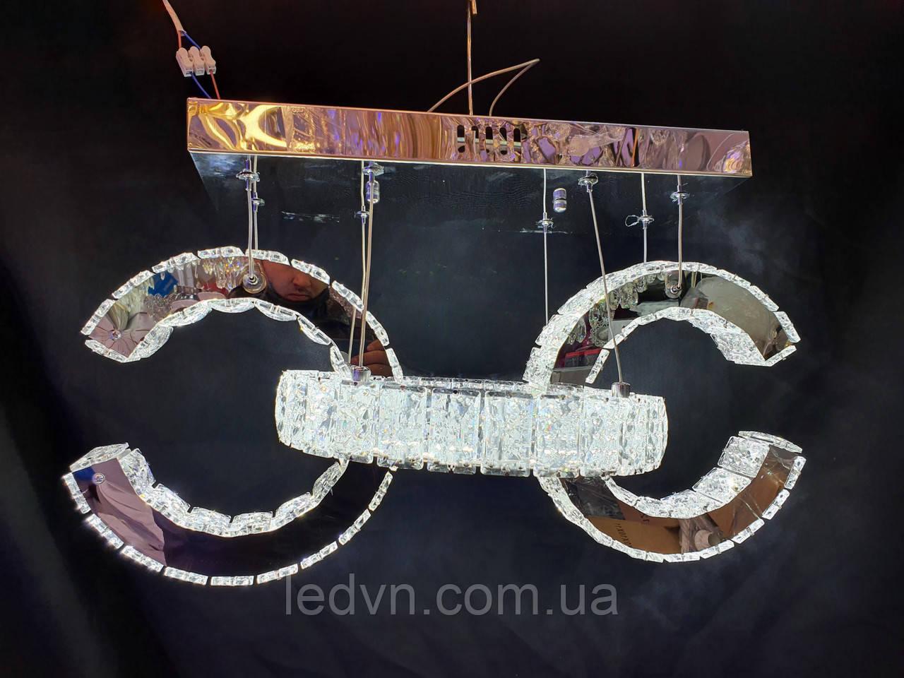 Хрустальная светодиодная люстра-подвес хром 115W