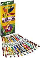 Цветные карандаши Crayola Erasable Colored Pencil, набор из 24 длинных карандаша с ластиком Крайола