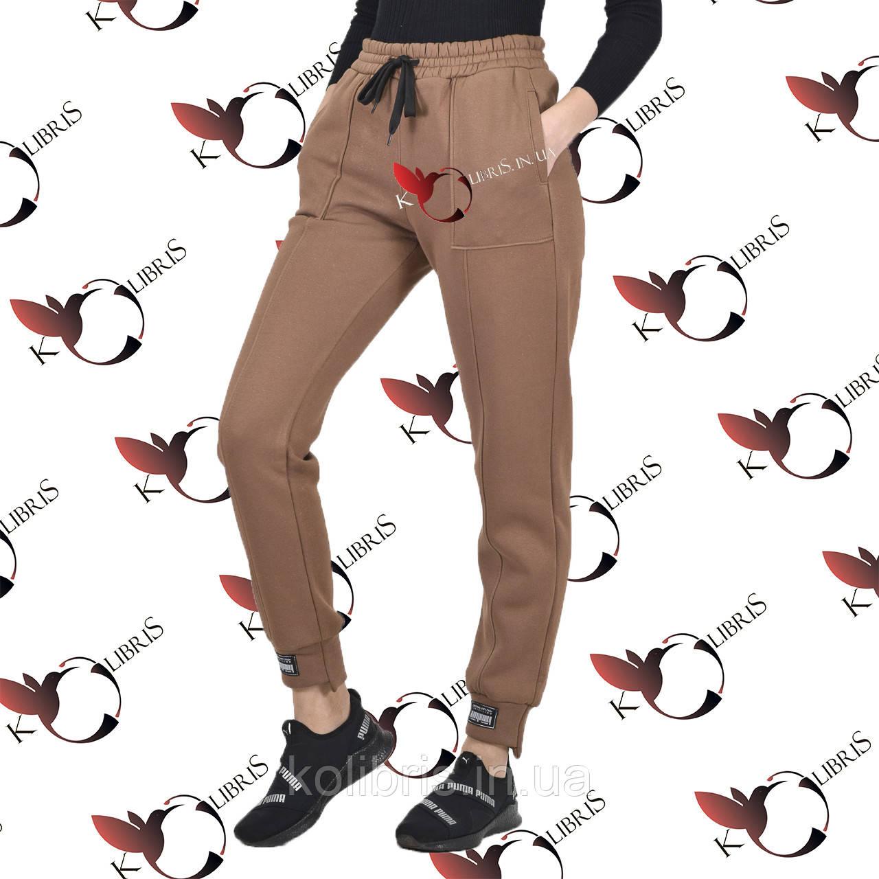 Женские спортивные штанишки на ассиметричном манжете трехнитка с начесом цвет мокко