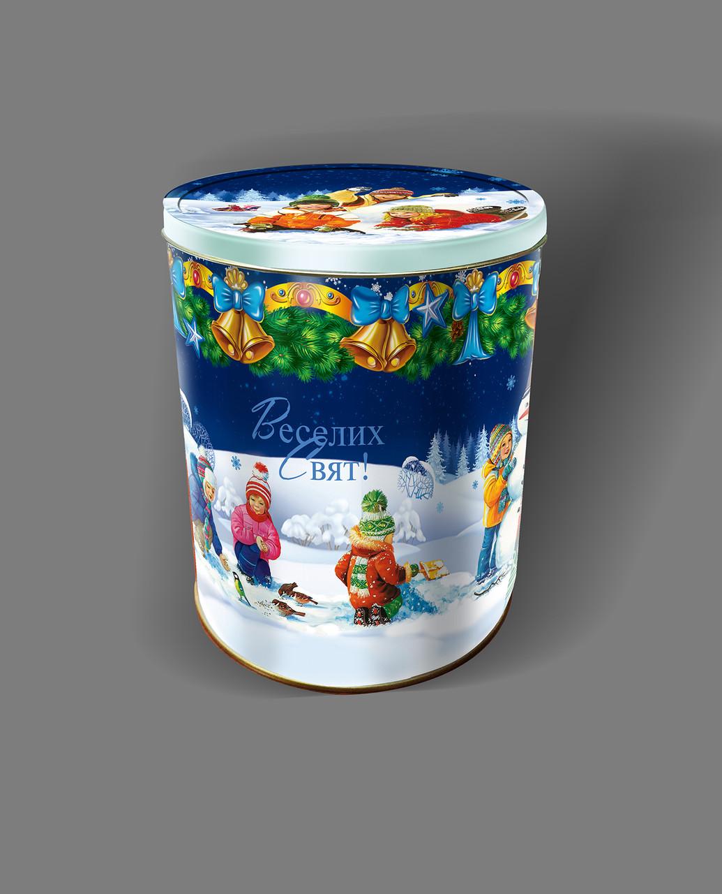 "Новогодняя коробка - тубус  жестяная  ""Волшебство рождества""  21-М4*2 на 1000 -1200 грамм"