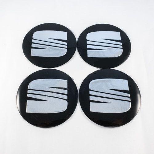 Наклейки на ковпачки Seat чорні / хром лого56 мм