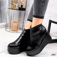 Ботинки женские черные, зимние из эко кожи. Черевики жіночі теплі чорні на на танкетці, фото 3