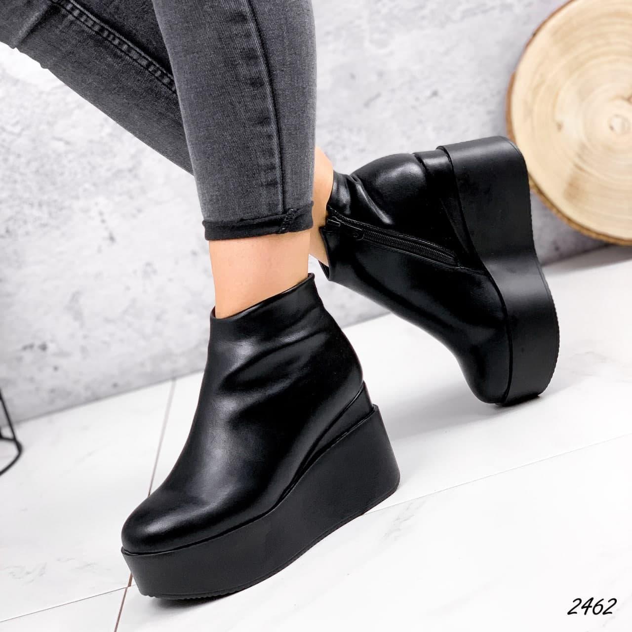 Ботинки женские черные, зимние из эко кожи. Черевики жіночі теплі чорні на на танкетці