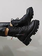 Черевики зимові на платформі Teona 20209 39 Чорні шкіра, фото 3