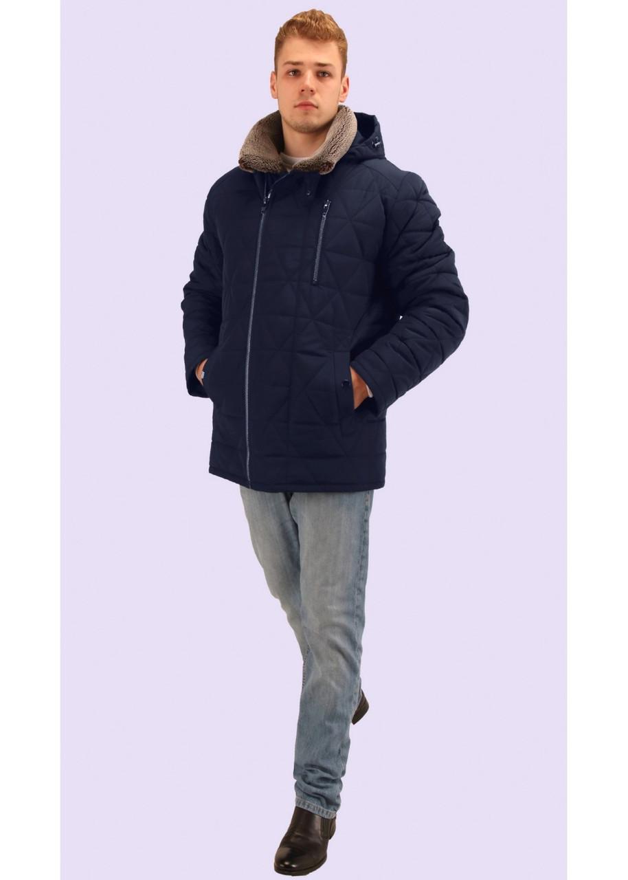 Стёганная мужская зимняя куртка с меховым воротником синяя и чёрная 48 и 50  размер