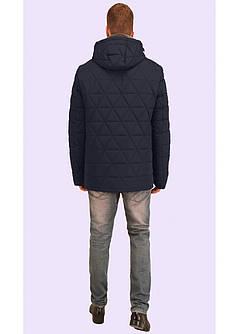 Стёганная мужская зимняя куртка с меховым воротником синяя и чёрная 48 и 50  размер, фото 2