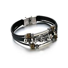 Кожаный браслет «Дракон» 21-22 см черный