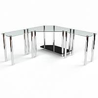 Угловой компьютерный стол из прозрачного стекла модель Кредо