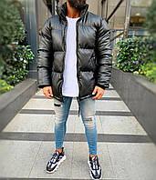 Чоловіча зимова куртка шкіряна чорна (Холлофайбер, до-25С), фото 1