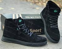 Демисезонные осенние ботинки для мальчика черные в стиле Lacoste,детская демисезонная обувь