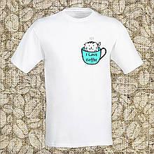 """Мужская футболка с принтом """"I love coffee"""" Push IT Белый"""