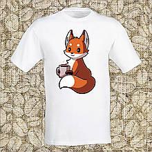 """Мужская футболка с принтом """"Лисица с чашкой кофе"""" Push IT Белый"""