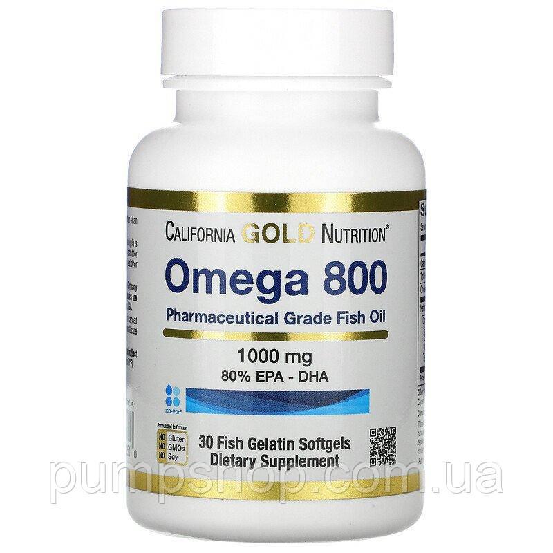 Жирні кислоти омега-3 California Gold Nutrition Omega 800 1000 мг 30 капс.