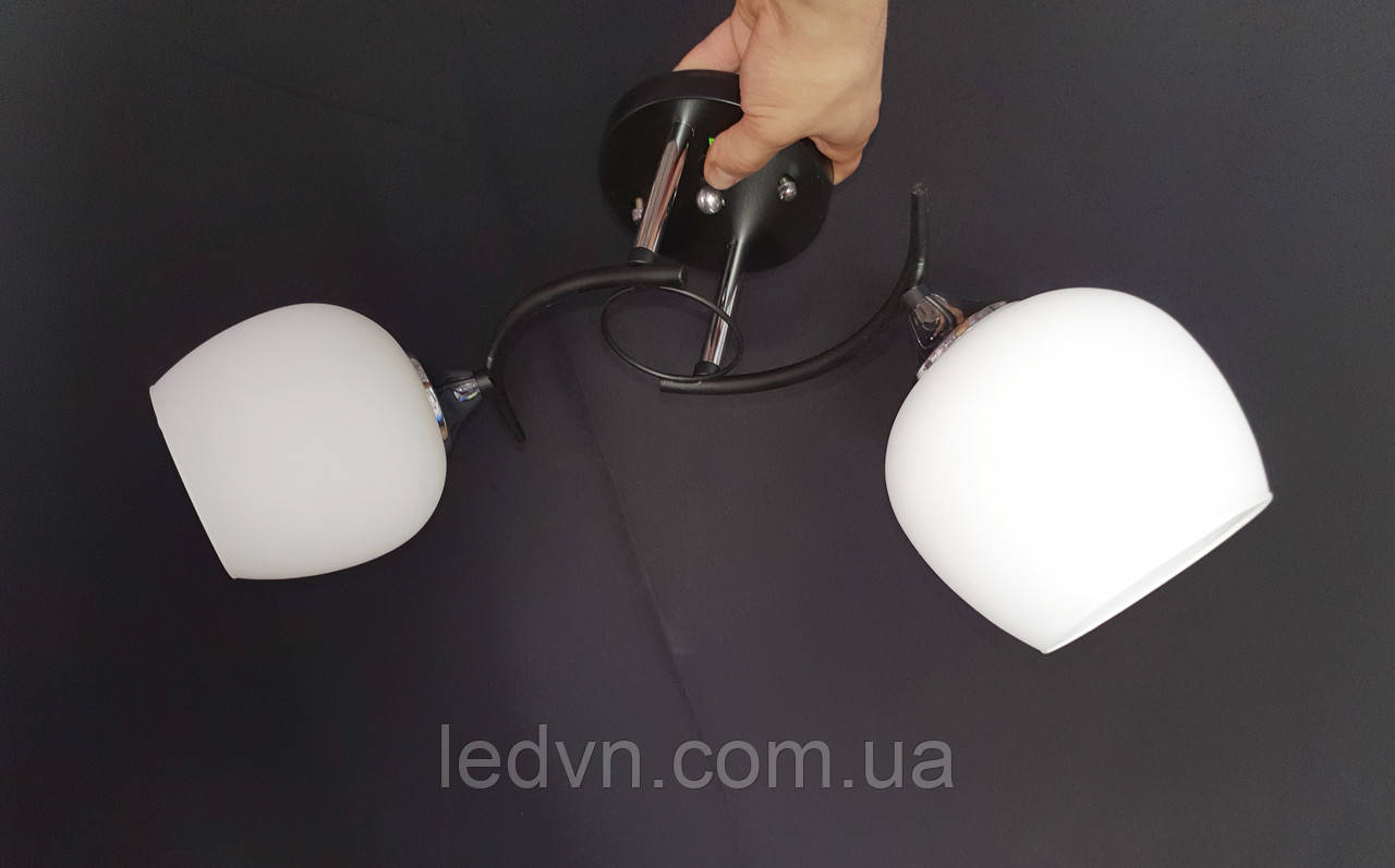Стельова люстра чорна на дві лампи плафони полушар
