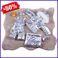 Детский зимний меховой комбинезон-трансформер тройка раздельный конверт на овчине для новорожденного серебро