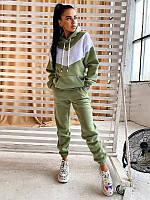 Стильный, теплый и удобный спортивный костюм с капюшоном оливковый / Теплий жіночий спортивний костюм оливка