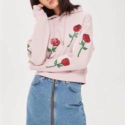 Худи женское розовое с пайетками Red Rose Berni Fashion (S)