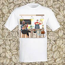 """Мужская футболка с принтом """"Баристаю. Бар"""" Push IT Белый"""