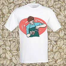 """Мужская футболка с принтом """"Бариста варит кофе"""" Push IT Белый"""