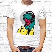 Мужская футболка с принтом Динозавр в наушниках Белый Push IT