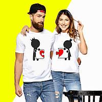 Парные футболки с принтом Пазл сердце Push IT XS, Белый