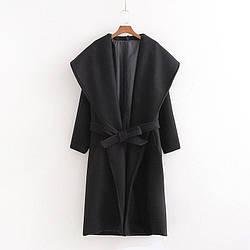 Пальто женское с поясом и объемным воротником Grace Berni Fashion (S)