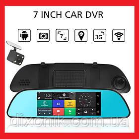 "Зеркало регистратор DVR V17 сенсорный экран 7"" 2 камеры, GPS навигатор, WiFi, Android, 3G"
