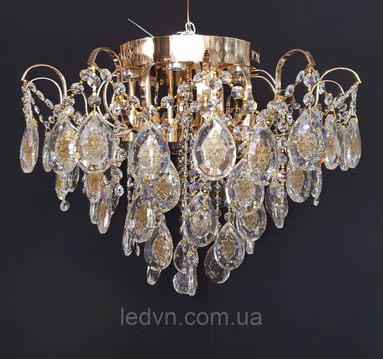 Хрустальная люстра классичесская с LED подсветкой на 6 лампочек золото