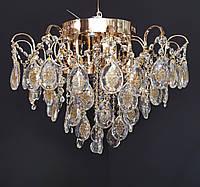 Хрустальная люстра классичесская с LED подсветкой на 6 лампочек золото, фото 1