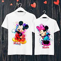"""Парные футболки с принтом """"Mickey/Minnie"""" L, Белый Push IT"""