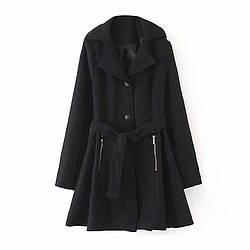 Пальто женское расклешенное с поясом Chic Berni Fashion (S)