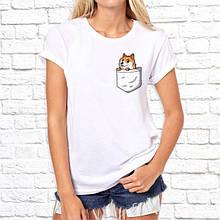 Женская футболка с принтом Лисенок в кармане Push IT