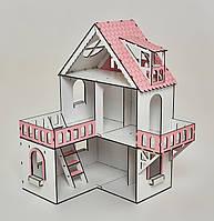 Кукольный домик NestWood Мини коттедж с мебелью 9 шт Белый с розовым (kdl002)