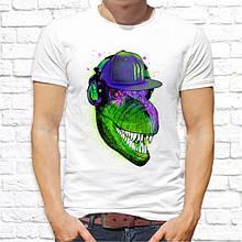 Мужская футболка с принтом Динозавр в бейсболке Push IT