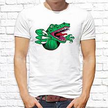 Мужская футболка с принтом Динозавр зеленый Push IT