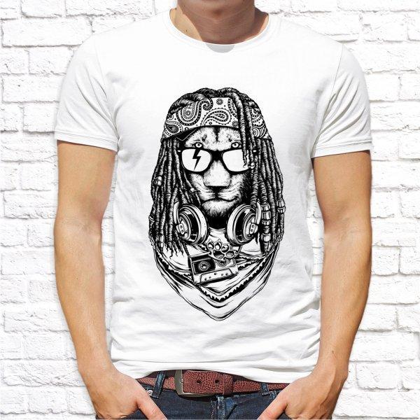 Мужская футболка с принтом Лев с дредами Push IT