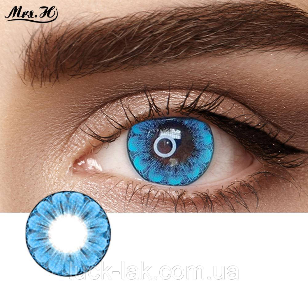 Цветные линзы для глаз, синий цветок + контейнер для линз в подарок