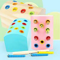 Деревянная игрушка Магнитная рыбалка «Гусенички» с цветными вставками, развивающие товары для детей.