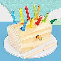 Деревянная игрушка Магнитная рыбалка «Гусенички» с цветными вставками (неокрашенная), развивающие товары для