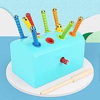 Деревянная игрушка Магнитная рыбалка «Гусенички» с цветными вставками (голубая), развивающие товары для детей.
