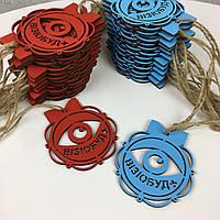 Цветные деревянные игрушки на елку с брендированием на заказ