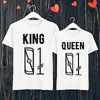 """Парные футболки с принтом """"King/Queen"""" L, Белый Push IT"""