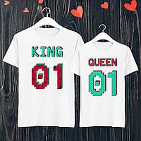 """Парные футболки с принтом """"King/Queen"""" XXXL, Белый Push IT"""