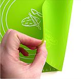 Коврик силиконовый для раскатки теста кухонный Салатовый 30х40 см, фото 3
