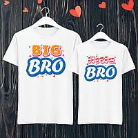 """Парные футболки с принтом """"Big bro/Little bro"""" S, Белый Push IT M, Новое, Белый"""