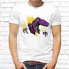 Мужская футболка с принтом Динозавр фиолетовый Белый Push IT