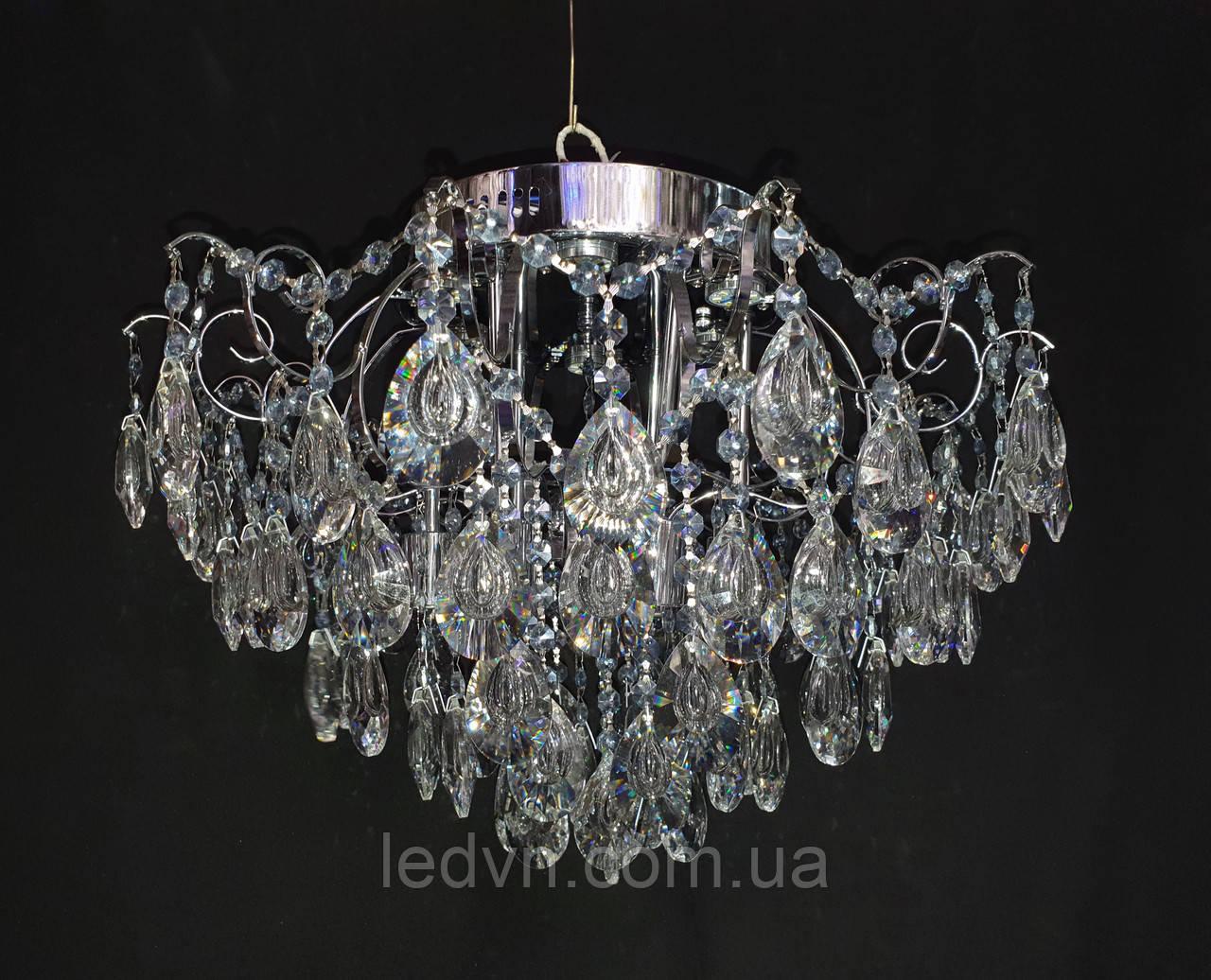 Хрустальная люстра классичесская с LED подсветкой на 6 лампочек серебро
