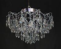 Хрустальная люстра классичесская с LED подсветкой на 6 лампочек серебро, фото 1