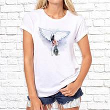 Женская футболка с принтом Птица с гранатой Белый Push IT