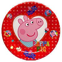 """Тарелки """"Свинка Пеппа"""" красная. Размер: 18см. В упак: 10шт."""
